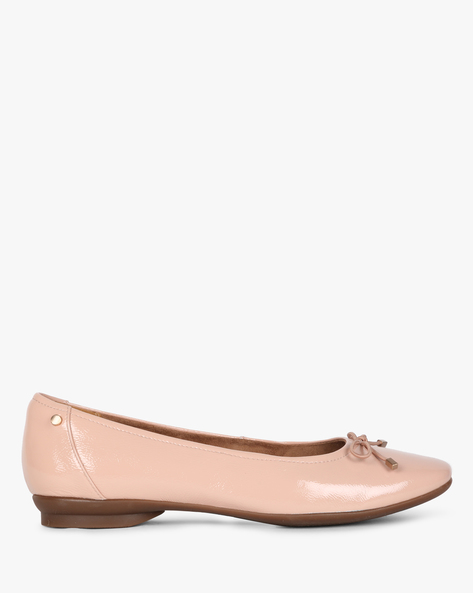 Candra Square-Toe Ballerinas With Bow Accent By CLARKS ( Pink )
