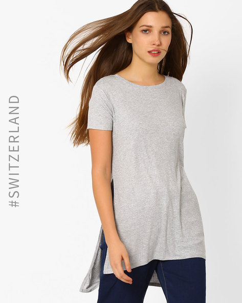 High-Low T-shirt With Side Slits By TALLY WEiJL ( Grey )