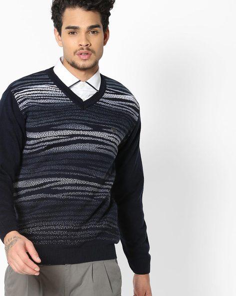 Striped V-neck Pullover By DUKE ( Navy )