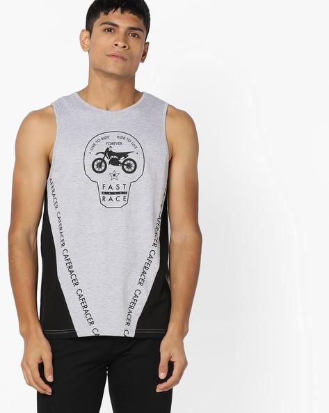 Printed Sleeveless T-shirt By AJIO ( Greymelange )