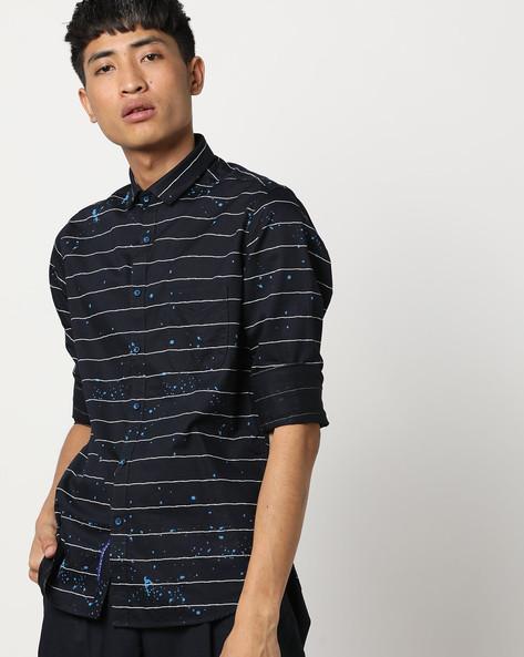 Striped Shirt With Splatter Print By Killer ( Blue )