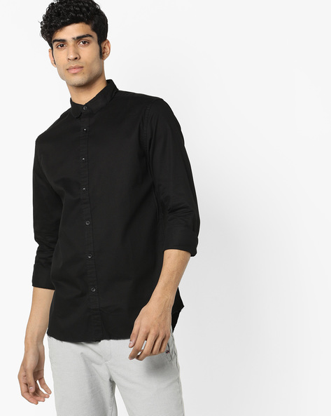 Cotton Shirt With Printed Back By Jack & Jones ( Black )