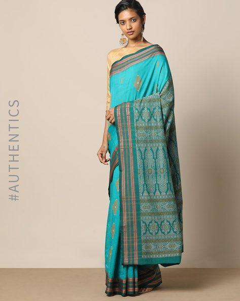 Handloom Bomkai Cotton Saree By Indie Picks ( Blue ) - 460175070001