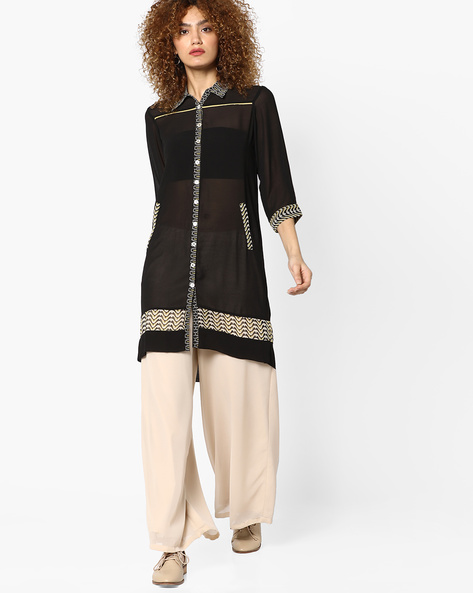 Sheer Shirt Tunic By And ( Assorted )