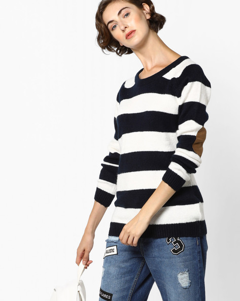 Striped Pullover With Elbow Patches By Fame Forever By Lifestyle ( Navy )