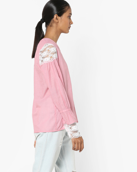 Top With Lace Detail By AJIO ( Pink )