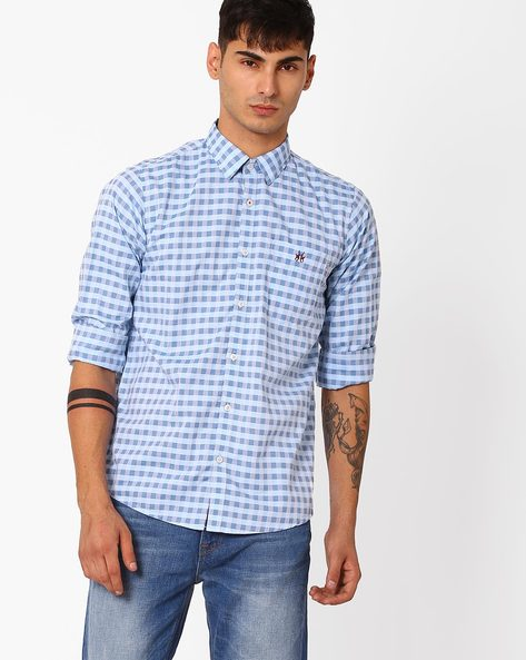 Slim Fit Checked Shirt With Patch Pocket By CRIMSOUNE CLUB ( Assorted )