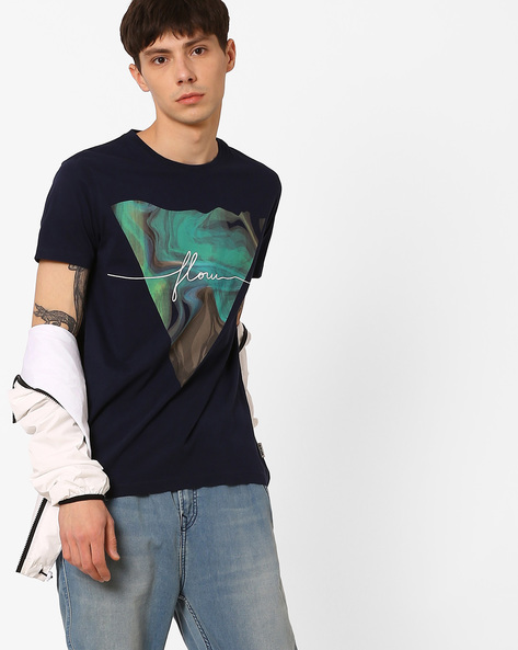 Graphic Print Slim T-shirt By Lee ( Navy )