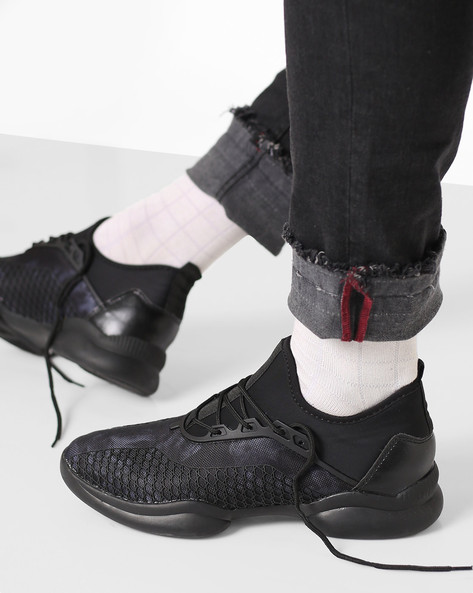Mid-Top Lace-Up Sneakers By AJIO ( Black )