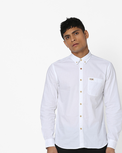Button-Down Slim Fit Shirt By US POLO ( White )