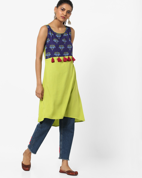 A-line Dress With Printed Yoke By UNTUNG ( Limegreen )