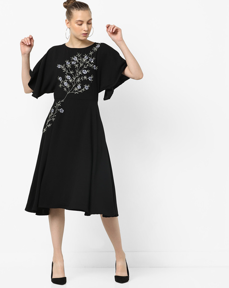 A-Line Floral Embroidered Dress By Femella ( Black )