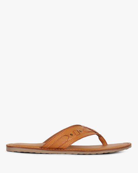 Textured Thong-Style Slippers With Applique By Estd.1977 ( Tan )