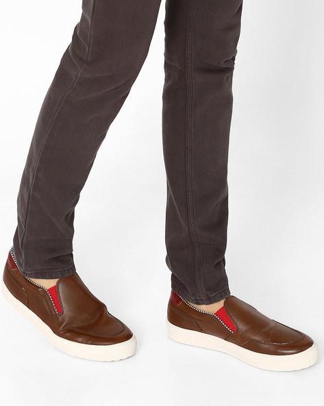 Textured Casual Loafers By Knotty Derby ( Brown )