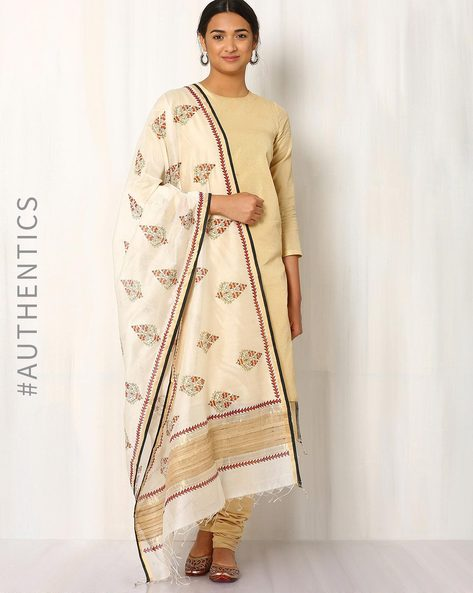 Hand Block Print Maheshwari Dupatta By Indie Picks ( Beige )