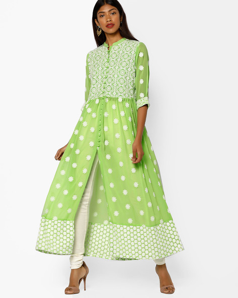 Embroidered Maxi Dress With Front Slit By Shree ( Green )