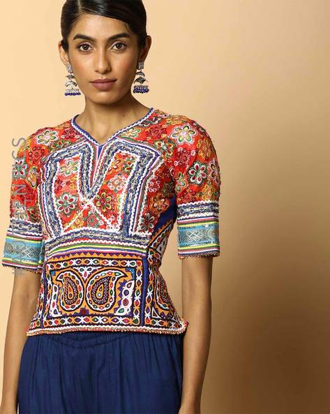 Kutch Embroidered Backless Blouse By Indie Picks ( Multi ) - 460103671001