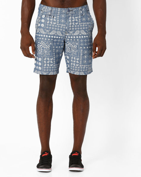 Printed Slim Fit Shorts By Blue Saint ( Blue )