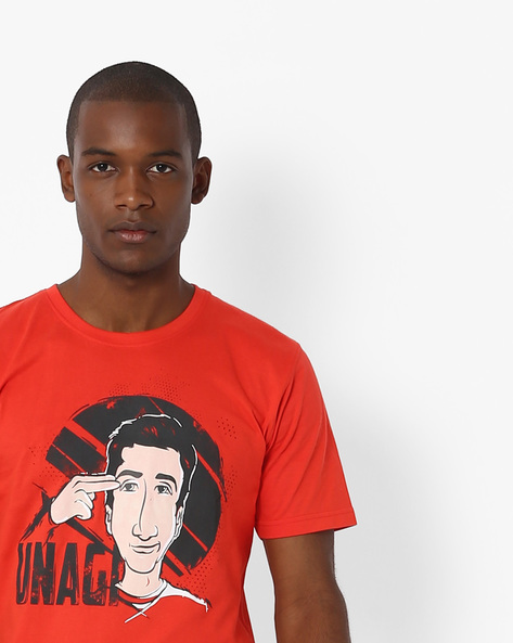 Graphic Print Crew-Neck T-shirt By Souled Store ( Red )