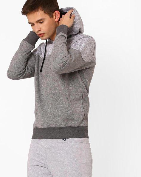 Cut & Sew Sweatshirt With Hoodie By Teamspirit ( Greymelange )