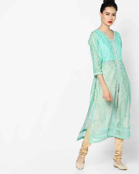 Printed Panelled Kurta With Front Slit By Melange By Lifestyle ( Aqua )