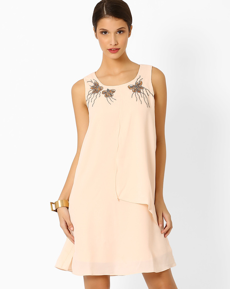 A-Line Dress With Embellishments By AJIO ( Cream )