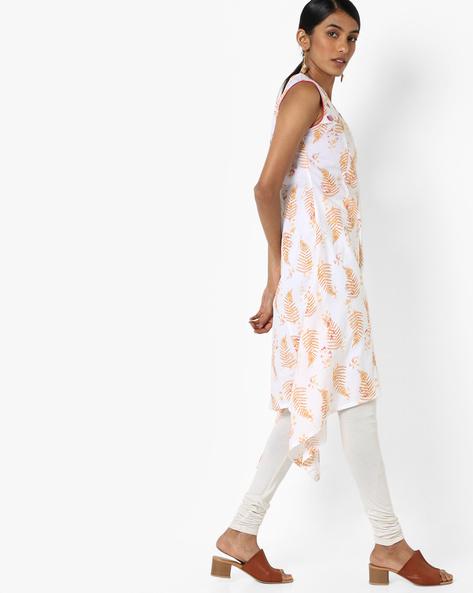 Sleeveless A-line Kurta With Embroidered Yoke By AJIO ( White )