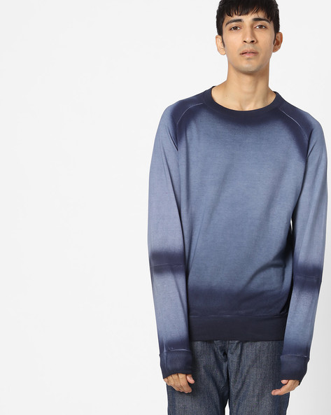 Raglan Sweatshirt With Dyed Effect By Blue Saint ( Navy )