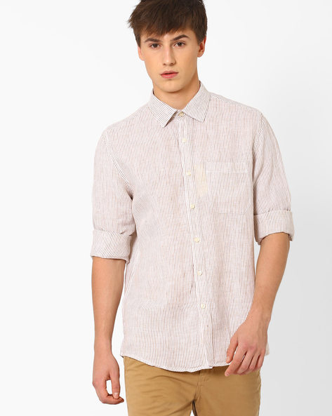 Striped Linen Shirt With Patch Pocket By NETWORK ( Beige )