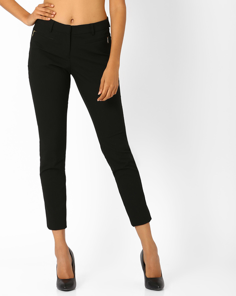 Cropped Trousers By Annabelle By Pantaloons ( Black )