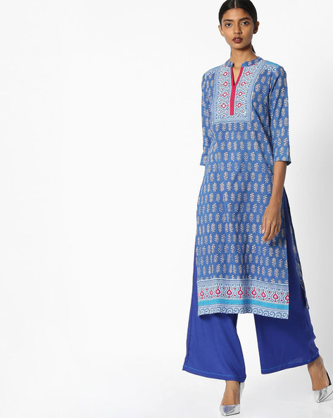 Printed Straight Kurta With Palazzos By Rain & Rainbow ( Indigo )