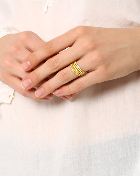Set Of 5 Gold-Plated Stylised Rings By AJIO ( Gold )