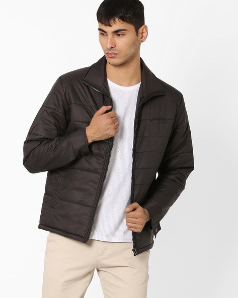 Regular Fit Quilted Jacket By Fort Collins ( Black )