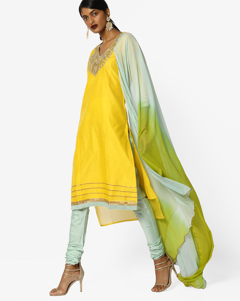 Churidar Kurta With Contrast Dupatta Set By AJIO ( Yellow )