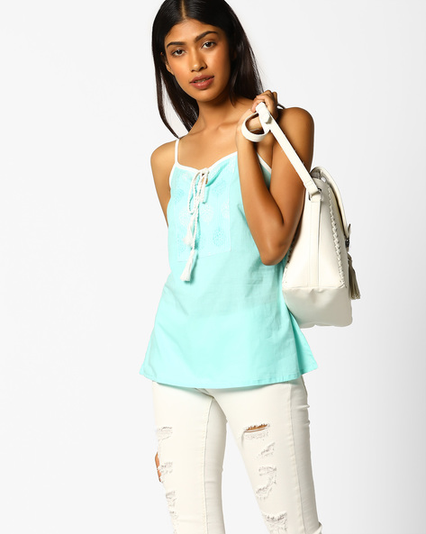 Printed Strappy Top With Lace-Up Fastening By AJIO ( Aqua )
