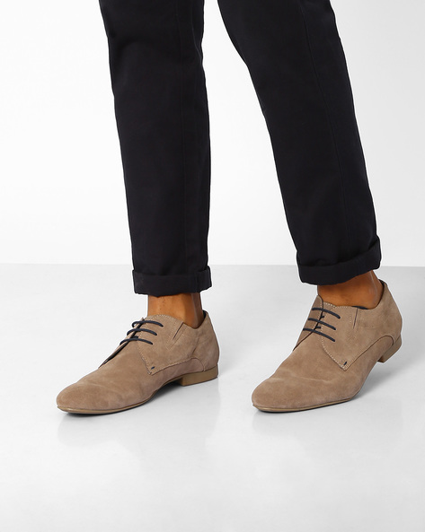 Genuine Leather Casual Shoes By AJIO ( Grey )