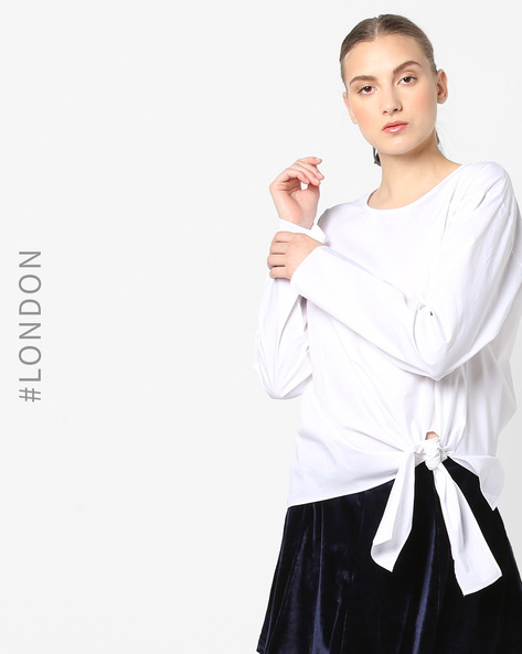 Drop-Shoulder Cotton Top With Tie-Up By Glamorous ( White )