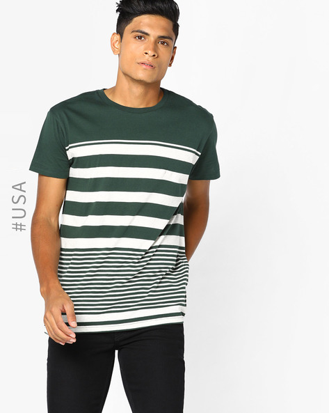 Crew-Neck T-shirt With Variegated Stripes By Aeropostale ( Darkgreen )