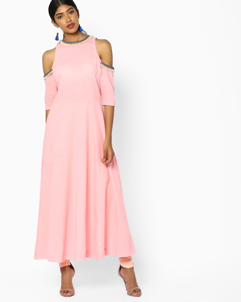 A-line Kurta With Cold-Shoulder Sleeves By Sassafras ( Pink ) - 460086617001