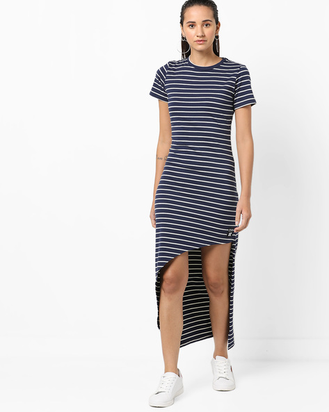 Striped High-Low Bodycon Dress By KULTPRIT ( Blue )