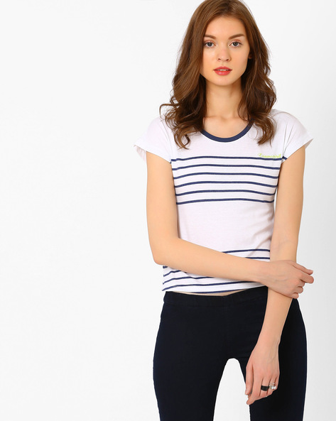 Striped T-shirt With Short Extended Sleeves By TEAM SPIRIT ( Navy )