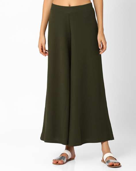 Palazzo Pants By Izabel London By Pantaloons ( Olive )