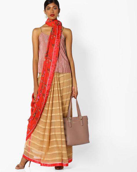 Half-and-Half Style Floral Print Saree By Runalaila ( Red )