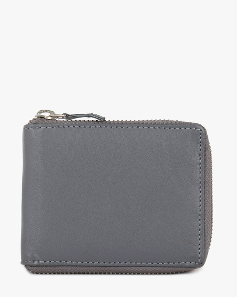 Leather Bi-Fold Wallet By TEAKWOOD LEATHERS ( Grey )