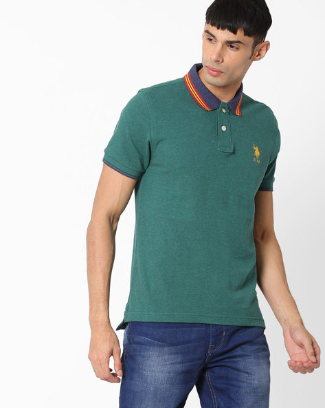 Slim Fit Cotton Polo T-shirt By US POLO ( Coffeebrown )