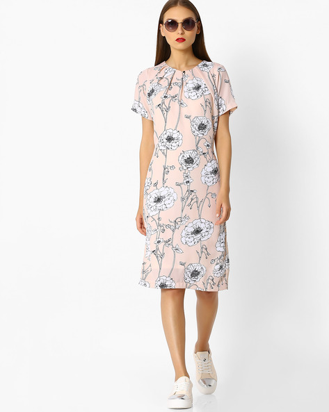 Floral Print Sheath Dress By FIG ( Ltpeach )