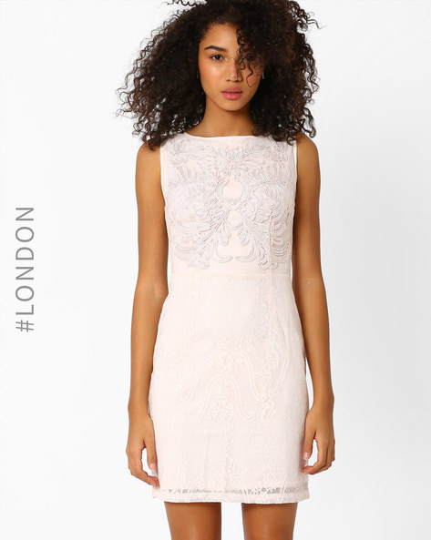 Lace Sheath Dress With Embroidered Bodice By Zibi London ( Nude )