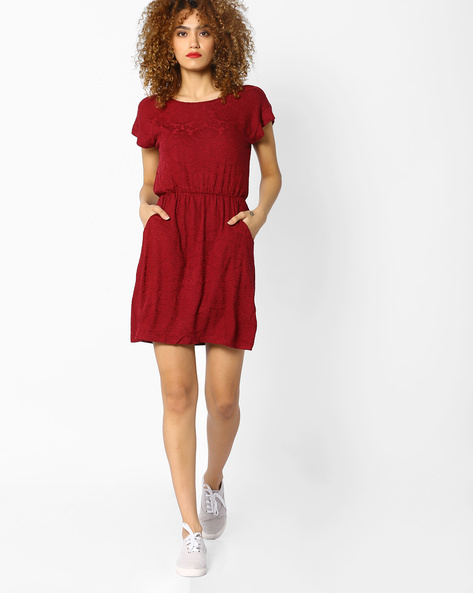A-line Cotton Dress With Pockets By And ( Maroonburg )