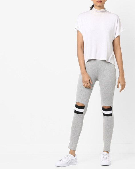 Mid-Rise Leggings With Cut-Outs By AJIO ( Grey )