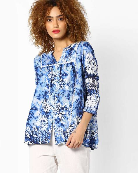 Printed Panelled Shirt Top By Global Desi ( Printed )